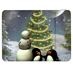 Funny Snowman With Penguin And Christmas Tree Samsung Galaxy Tab 7  P1000 Flip Case by FantasyWorld7