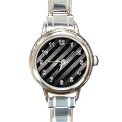 Stripes3 Black Marble & Gray Metal 1 Round Italian Charm Watch by trendistuff