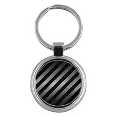 Stripes3 Black Marble & Gray Metal 1 Key Chains (round)  by trendistuff