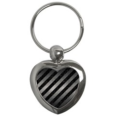 Stripes3 Black Marble & Gray Metal 1 Key Chains (heart)  by trendistuff