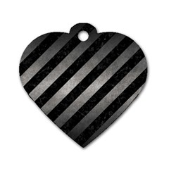 Stripes3 Black Marble & Gray Metal 1 Dog Tag Heart (two Sides) by trendistuff