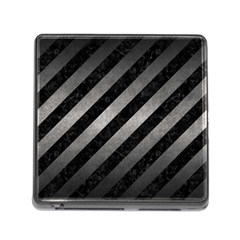 Stripes3 Black Marble & Gray Metal 1 Memory Card Reader (square) by trendistuff
