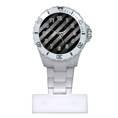 Stripes3 Black Marble & Gray Metal 1 Plastic Nurses Watch by trendistuff