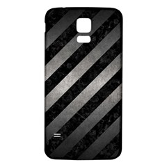 Stripes3 Black Marble & Gray Metal 1 Samsung Galaxy S5 Back Case (white) by trendistuff