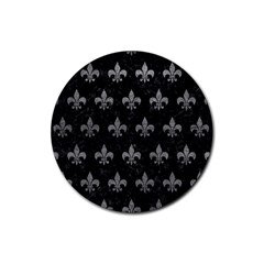 Royal1 Black Marble & Gray Leather (r) Rubber Coaster (round)  by trendistuff