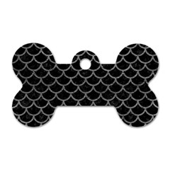 Scales1 Black Marble & Gray Leather Dog Tag Bone (two Sides) by trendistuff