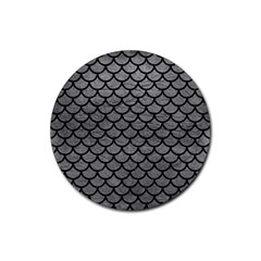 Scales1 Black Marble & Gray Leather (r) Rubber Coaster (round)  by trendistuff