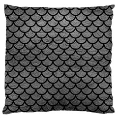 Scales1 Black Marble & Gray Leather (r) Large Flano Cushion Case (one Side) by trendistuff