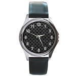 SCALES2 BLACK MARBLE & GRAY LEATHER Round Metal Watch Front