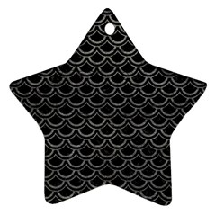 Scales2 Black Marble & Gray Leather Ornament (star)