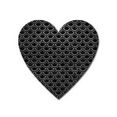 Scales2 Black Marble & Gray Leather Heart Magnet by trendistuff