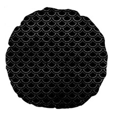 Scales2 Black Marble & Gray Leather Large 18  Premium Flano Round Cushions by trendistuff