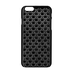 Scales2 Black Marble & Gray Leather Apple Iphone 6/6s Black Enamel Case by trendistuff