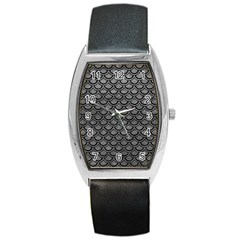 Scales2 Black Marble & Gray Leather (r) Barrel Style Metal Watch by trendistuff