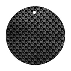 Scales2 Black Marble & Gray Leather (r) Round Ornament (two Sides) by trendistuff