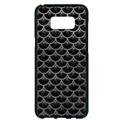 Scales3 Black Marble & Gray Leather Samsung Galaxy S8 Plus Black Seamless Case by trendistuff