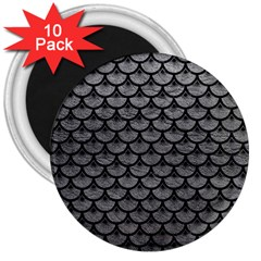 Scales3 Black Marble & Gray Leather (r) 3  Magnets (10 Pack)  by trendistuff