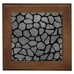Skin1 Black Marble & Gray Leather Framed Tiles by trendistuff