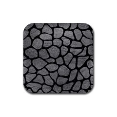 Skin1 Black Marble & Gray Leather Rubber Coaster (square)