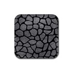 SKIN1 BLACK MARBLE & GRAY LEATHER Rubber Coaster (Square)  Front
