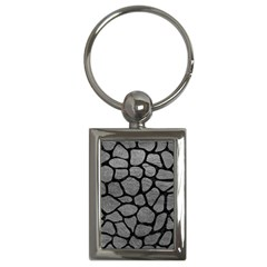 Skin1 Black Marble & Gray Leather Key Chains (rectangle)  by trendistuff