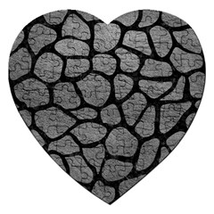 Skin1 Black Marble & Gray Leather Jigsaw Puzzle (heart) by trendistuff