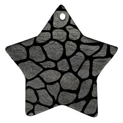 Skin1 Black Marble & Gray Leather Star Ornament (two Sides) by trendistuff