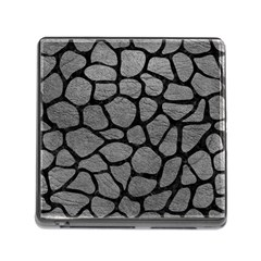 Skin1 Black Marble & Gray Leather Memory Card Reader (square) by trendistuff