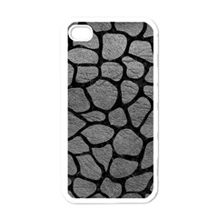 Skin1 Black Marble & Gray Leather Apple Iphone 4 Case (white) by trendistuff