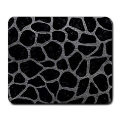 Skin1 Black Marble & Gray Leather (r) Large Mousepads by trendistuff