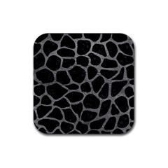 Skin1 Black Marble & Gray Leather (r) Rubber Coaster (square)