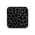 SKIN1 BLACK MARBLE & GRAY LEATHER (R) Rubber Coaster (Square)  Front