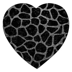 Skin1 Black Marble & Gray Leather (r) Jigsaw Puzzle (heart) by trendistuff