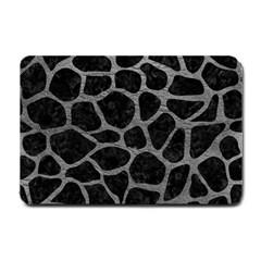 Skin1 Black Marble & Gray Leather (r) Small Doormat  by trendistuff