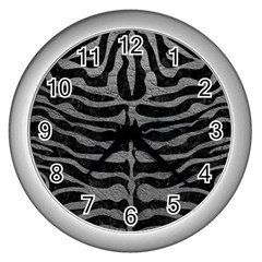 Skin2 Black Marble & Gray Leather Wall Clocks (silver)  by trendistuff