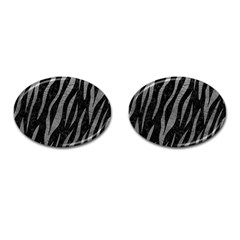 Skin3 Black Marble & Gray Leather Cufflinks (oval) by trendistuff