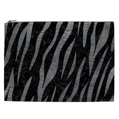 Skin3 Black Marble & Gray Leather Cosmetic Bag (xxl)  by trendistuff