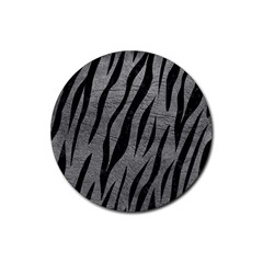 Skin3 Black Marble & Gray Leather (r) Rubber Coaster (round)