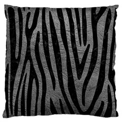Skin4 Black Marble & Gray Leather Large Flano Cushion Case (one Side) by trendistuff