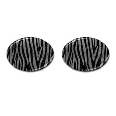 Skin4 Black Marble & Gray Leather (r) Cufflinks (oval) by trendistuff