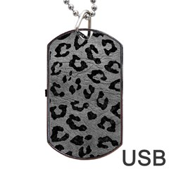 Skin5 Black Marble & Gray Leather Dog Tag Usb Flash (one Side) by trendistuff