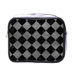Square2 Black Marble & Gray Leather Mini Toiletries Bags by trendistuff