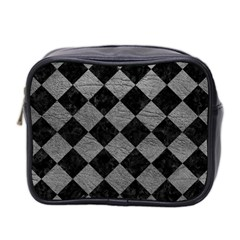 Square2 Black Marble & Gray Leather Mini Toiletries Bag 2 Side by trendistuff