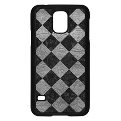 Square2 Black Marble & Gray Leather Samsung Galaxy S5 Case (black) by trendistuff
