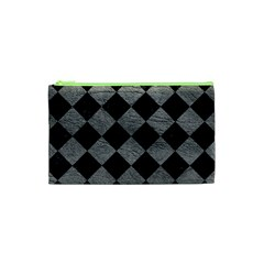 Square2 Black Marble & Gray Leather Cosmetic Bag (xs) by trendistuff