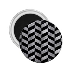 Chevron1 Black Marble & Gray Metal 2 2 25  Magnets by trendistuff