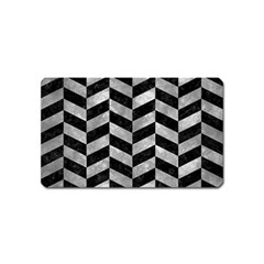 Chevron1 Black Marble & Gray Metal 2 Magnet (name Card) by trendistuff