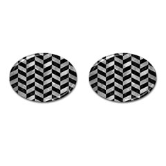 Chevron1 Black Marble & Gray Metal 2 Cufflinks (oval) by trendistuff