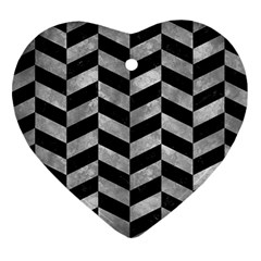 Chevron1 Black Marble & Gray Metal 2 Heart Ornament (two Sides) by trendistuff