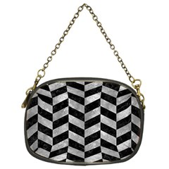 Chevron1 Black Marble & Gray Metal 2 Chain Purses (one Side)  by trendistuff